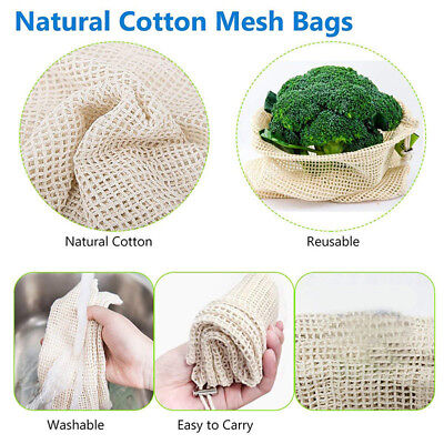 Reusable Mesh Grocery Bag Drawstring Washable Vegetable Fruit Storage Mesh Pouch