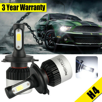 2Pcs NIGHTEYE 72W 9000LM H4 HB2 LED Headlight Kit Hi/Lo Beam Globe Bulbs 6500K