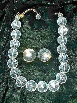 VTG RETRO MOD 60's CHUNKY FACETED  BALL LUCITE ACRYLIC NECKLACE & EARRINGS SET