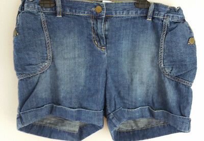 Liz Lange Maternity Adjustable Waist Cuffed Jean Denim Shorts size M
