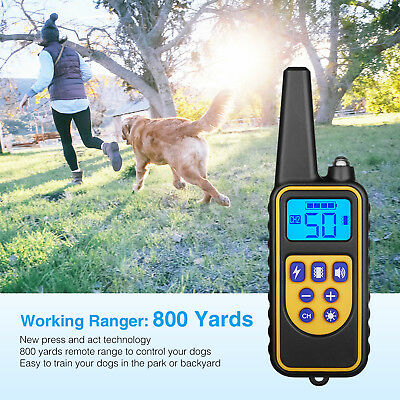 Waterproof 1 or 2 Dog Shock Training Collar 330/880/1000 Yard Remote Control LCD