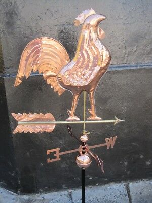 Weather Vane Rooster LARGE Hand beaten Copper 143cm Tall w Wall Mounting Bracket