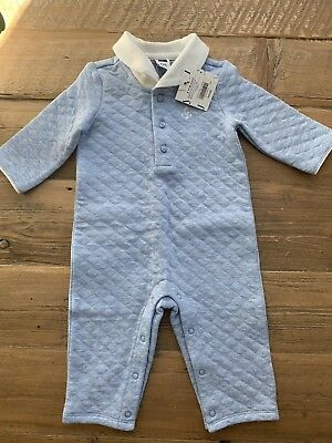 NWT Janie and Jack Baby Boy Layette Blue One Piece Quilted Coverall 3-6 Months