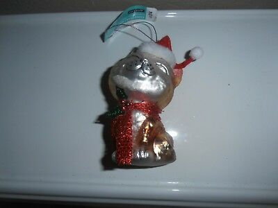 Blown glass cat Christmas ornament