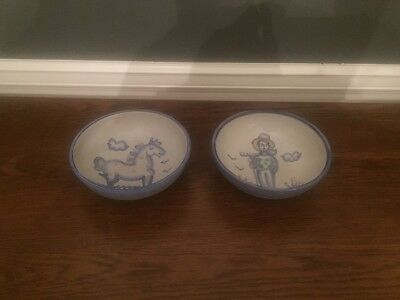 2 M.A.Hadley BOWLS Country Farm handpainted stoneware pottery 6.5""