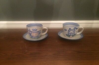 2 M.A.Hadley CUP & SAUCERS Country Farm handpainted stoneware pottery