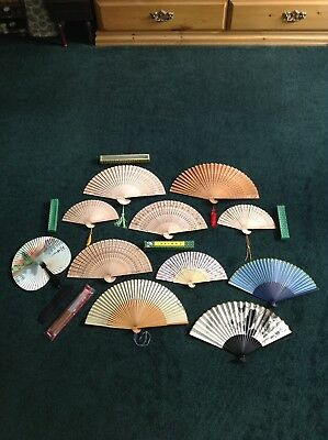 Hand Fan Lot Of 12 Wood And Printed Fabric Floral Panda Butterflies Cats
