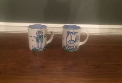 2 M.A.Hadley COFFEE MUGS country Farm handpainted stoneware pottery