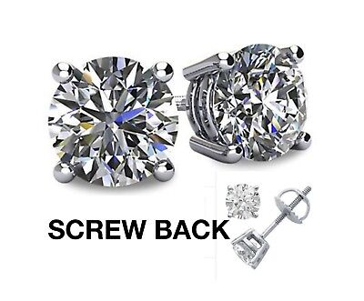 .50 ct Round cut Solitaire Stud Earrings 14k White Gold Great Gift USA