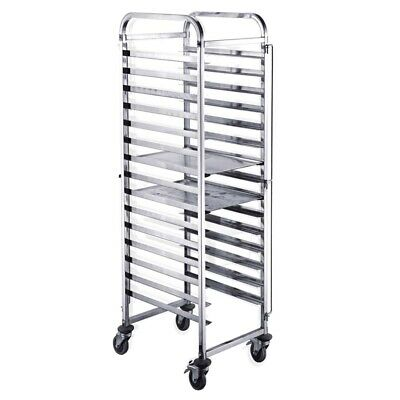 SOGA Gastronorm Trolley 16 Tier Stainless Steel Cake Bakery Trolley Suits 60*40