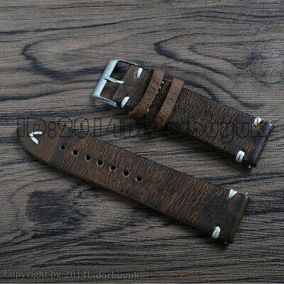 Men's Brown Retro Vintage Leather Watch Band Replacement Wrist Strap 18 20 22 mm