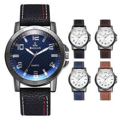 Casual Metal Case Watch Men Military Leather Sports Date wrist fashion Watches