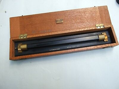 Vintage Solid Brass Chart Map Roller Instrument  In Silky Oak Case