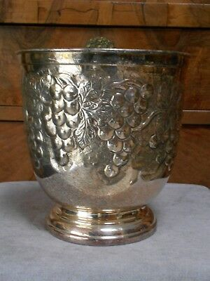 French Vintage Silver Plate CHAMPAGNE FOOTED  Ice BUCKET COOLER w/ GRAPES