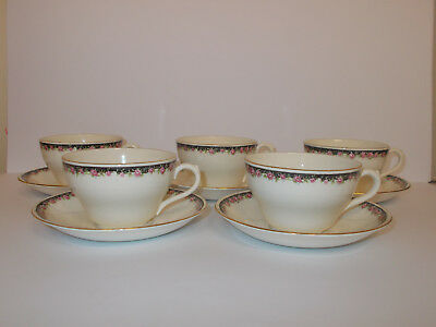 5 x Vintage George Jones & Sons Crescent Ivory Cups and Saucers Floral Lovely