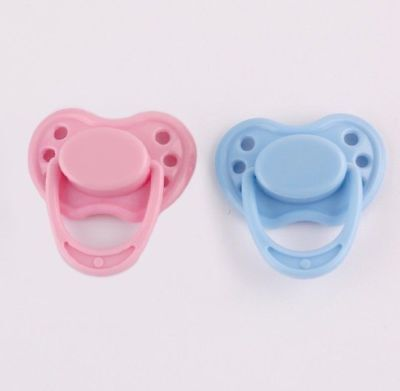 2 Pcs Pink & Blue Reborn Baby Dolls Magnetic Pacifier Dummy Toy Accessories Kit