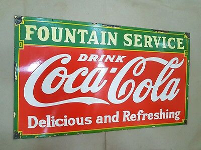 Coca Cola Fountain Service Vintage Porcelain Sign 24 X 14 Inches
