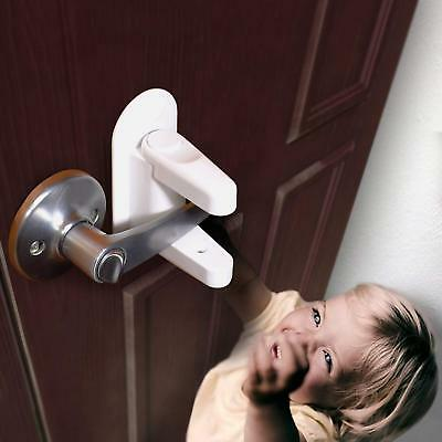 (2 Pack) Door Lever Lock Child Toddler Proof Lock Safety & Handles 3M Adhesive