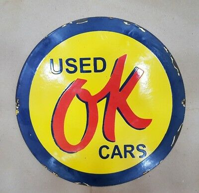 Used ''ok'' Cars Vintage Porcelain Sign 14 Inches Round