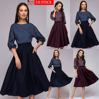 9bb70cb99d3 Women s Vintage Lace Boat Neck Formal Wedding Cocktail Evening Party Swing  Dress