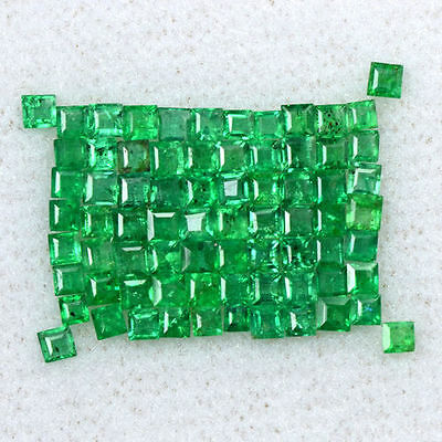 2.17 Cts Natural Top Emerald Loose Gemstone 1.5  upto 2 mm Square Cut Lot Zambia