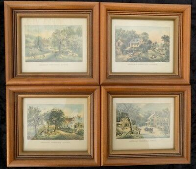 Set Of 4 Vintage Currier And Ives Small Framed Art Prints Homestead Series