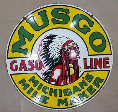 Musgo Gasoline 2 Sided Vintage Porcelain Sign 30 Inches Round