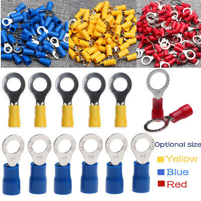 20/25PCS Electrical Insulated Crimp Ring Terminal Wire Connector Red Blue Yellow