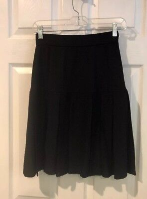 ST.JOHN COLLECTION Basics Black  Santana Knit Pleated Drop Waist Suit Skirt 2 /