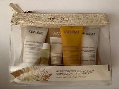 Decleor Aroma Glow 5 Piece Face & Body Discovery Kit GIFT SET w. Toiletries Bag