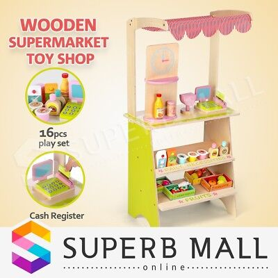 Kids Christmas Gift Wooden Marketplace Stand Market Stall Pretend Play Set Toy