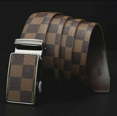 Womens Designer Real Leather Automatic Beige Check Belt For Women Ladies Belts