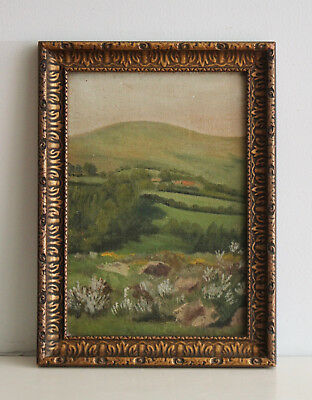 A Good early c20th Landscape Oil Painting, Gilt Frame, Dartmoor View, K. WELFORD