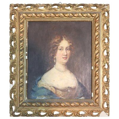 19th Century Italian Antique Oil Painting on Wood table Portrait of a Young Lady