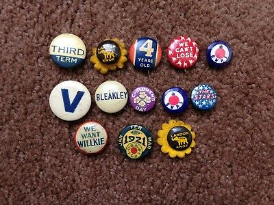 Lot Of 13 Antique/vintage Pinback Buttons Found While Sorting Estate Button Tins
