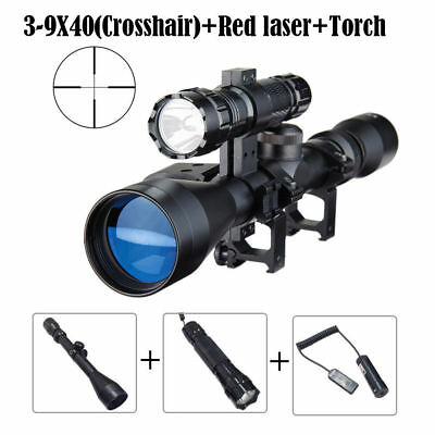 3-9X40 Tactical Hunting Crosshair Rifle Scope w/ Red Laser Sight + Torch Light