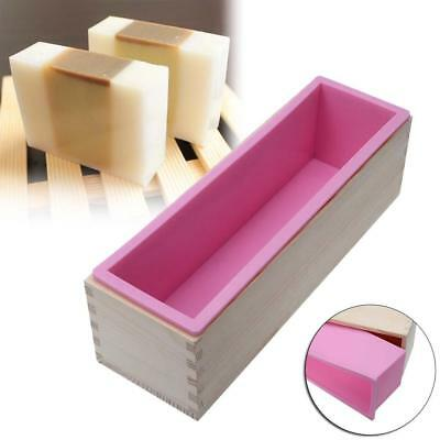 1200g Rectangle Silicone Soap Loaf Mold Wooden Box DIY Making Tools 1200G New KS