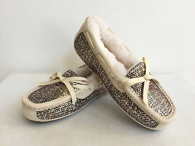 9b48235edff UGG SYMONA FRILL Metallic Bronze Shearling Lined Slippers Us 10 / Eu 41 /uk  8.5