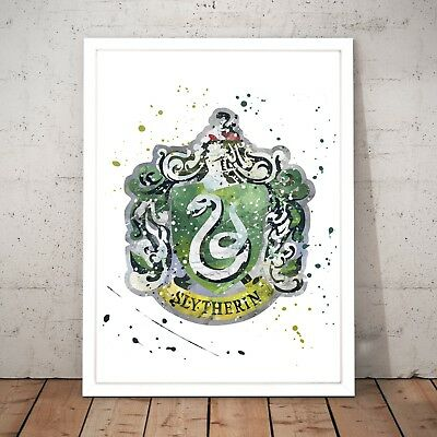 Slytherin House Badge Harry Potter Unique Art Poster Print - A3 A2 A1 A0 Framed