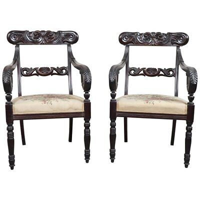19th Century Italian Charles X Mahogany Carved Antique Pair of Armchairs