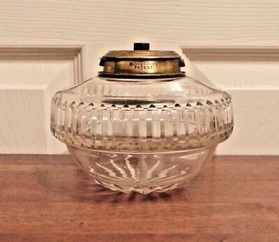 Antique Hinks cut crystal glass oil lamp drop in font converted to electric