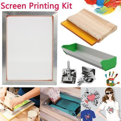 5Pcs Screen Printing Kit Aluminum Frame Hinge Clamp Emulsion Coater Squeegee AU