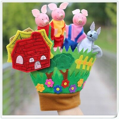Three Little Pigs Educational Puppets Finger Hand Glove kinder Doll Spielzeug