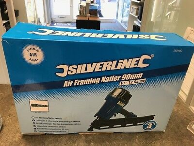 Silverline 282400 50-90mm 10 - 12 Gauge Air Framing Nailer Nail gun NEW
