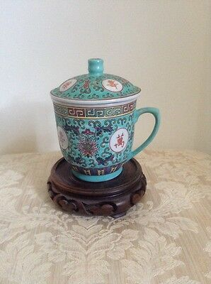 Chinese Vintage Porcelain Cultural Revulsion  Cup With Lid - Good Luck Symbols
