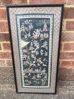 Antique Chinese Silk Embroidery Panel Framed Vintage Fine Needlework- VGC