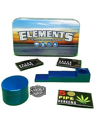 Elements Tobacco Raw Tobacco Tin & Other Gift Sets With Pipe,Grinder And Screens