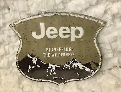 Open Road Brand JEEP Pioneering The Wilderness Metal Sign