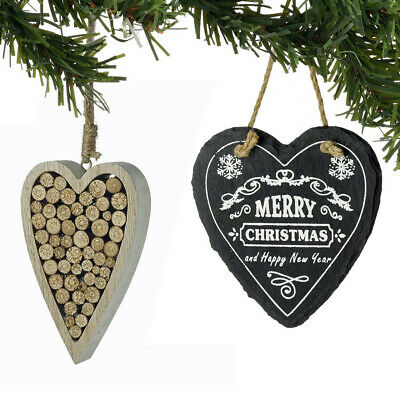 Hanging Christmas Tree Ornaments Hearts Stars Stag Bauble Decorations Hanger NEW
