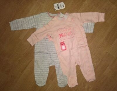 Next Baby Girls Pink Unicorn Sleepsuits 2 pack (size 0-3 months)